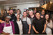 New York, NY - March 14, 2018: Chef-contestants of The Next Food Network Star reunite for a dinner at the James Beard House. The dinner, featuring chefs Jay Ducote, Alex McCoy, Arnold Myint and Dom Tesoriero, is the first time the chefs have cooked together since competing on the air three years ago.<br />