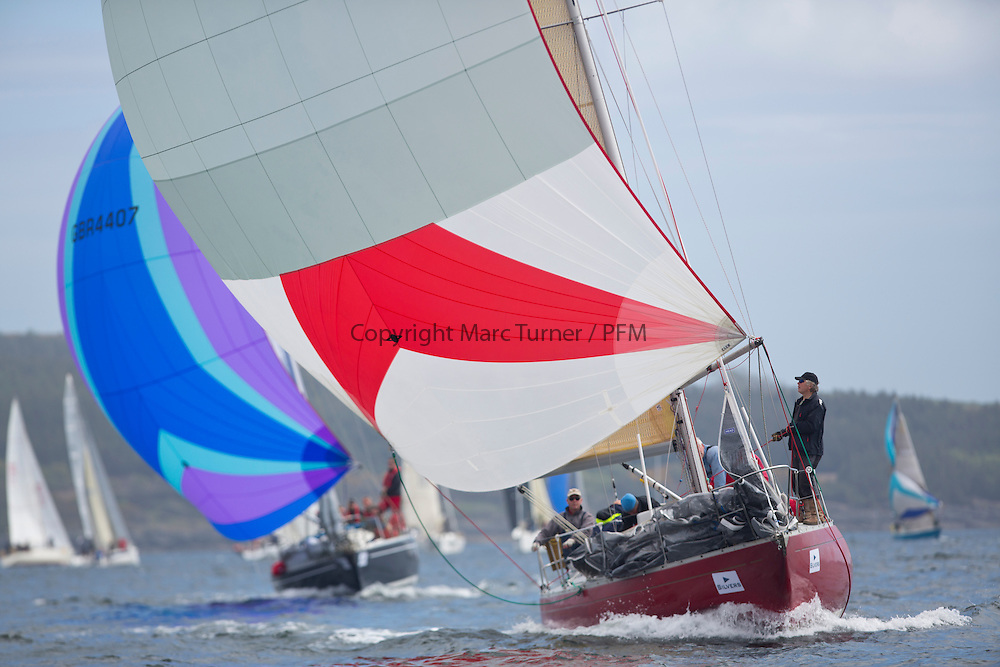 Day two of the Silvers Marine Scottish Series 2015, the largest sailing event in Scotland organised by the  Clyde Cruising Club<br /> Racing on Loch Fyne from 22rd-24th May 2015<br /> <br /> K4203, Stargazer, G. MacLeod/A. Bisland, CCC / Arran YC , Grand Soleil 34<br /> <br /> Credit : Marc Turner / CCC<br /> For further information contact<br /> Iain Hurrel<br /> Mobile : 07766 116451<br /> Email : info@marine.blast.com<br /> <br /> For a full list of Silvers Marine Scottish Series sponsors visit http://www.clyde.org/scottish-series/sponsors/