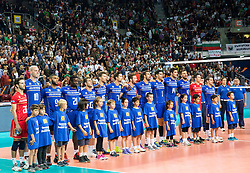 17-10-2015 BUL: Volleyball European Championship Frankrijk - Bulgarije, Sofia<br /> Semifinal in Arena Armeec Sofia /  Team France listening to the national anthem<br /> Photo: Vid Ponikvar / RHF<br /> +++USE NETHERLANDS ONLY+++
