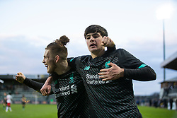 GRÖDIG, AUSTRIA - Tuesday, December 10, 2019: Liverpool's Harvey Elliott (L) and substitute Layton Stewart celebrate the winning third goal, with the last kick of the game, during the final UEFA Youth League Group E match between FC Salzburg and Liverpool FC at the Untersberg-Arena. Liverpool's won 3-2. (Pic by David Rawcliffe/Propaganda)