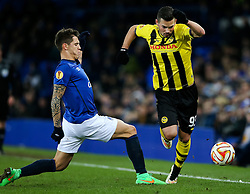 Marco Burki of BSC Young Boys takes on Everton's Muhamed Besic  - Photo mandatory by-line: Matt McNulty/JMP - Mobile: 07966 386802 - 26/02/2015 - SPORT - Football - Liverpool - Goodison Park - Everton v Young Boys - UEFA EUROPA LEAGUE ROUND OF 32 SECOND LEG