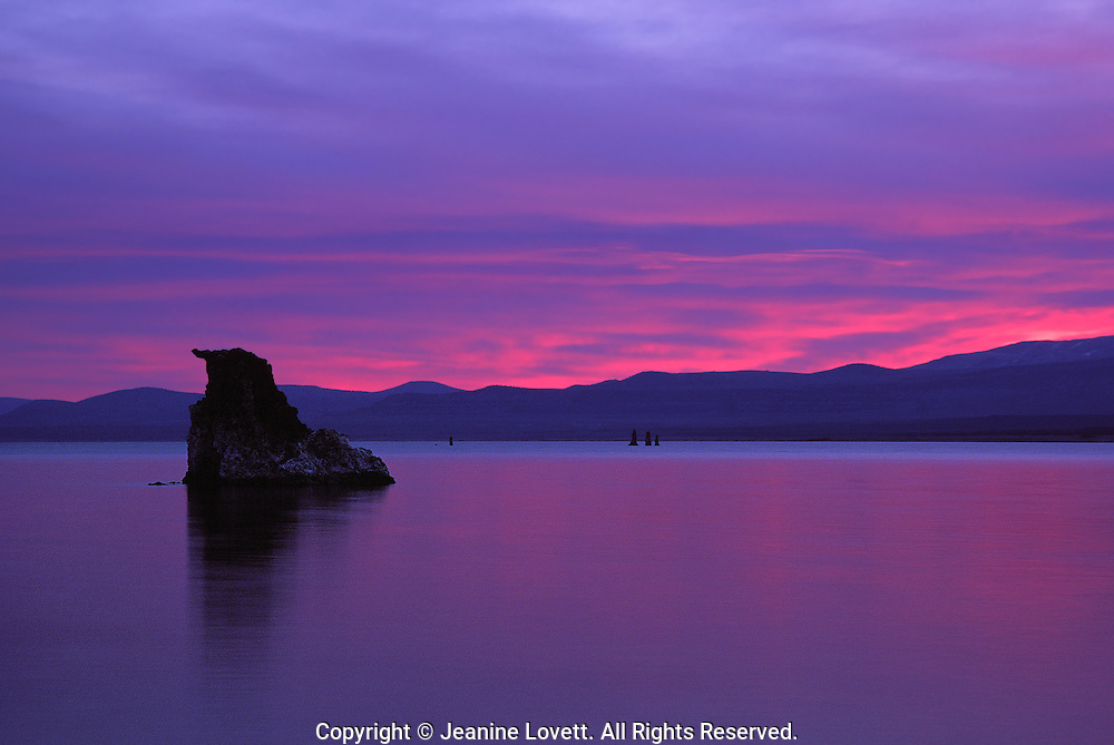 Vibrant colorful sunrise on monolake.