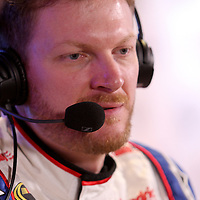 Dale Earnhardt Jr. speaks with the media during the NASCAR Media Day event at Daytona International Speedway on Thursday, February 14, 2013 in Daytona Beach, Florida.  (AP Photo/Alex Menendez)