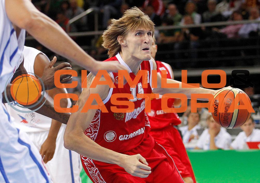DESCRIZIONE : Kaunas Lithuania Lituania Eurobasket Men 2011 Semifinali Semi Final Round Francia Russia France Russia<br /> GIOCATORE : Andrei Kirilenko <br /> SQUADRA : Russia<br /> EVENTO : Eurobasket Men 2011<br /> GARA : Francia Russia France Russia<br /> DATA : 16/09/2011 <br /> CATEGORIA : palleggio<br /> SPORT : Pallacanestro <br /> AUTORE : Agenzia Ciamillo-Castoria/L.Kulbis<br /> Galleria : Eurobasket Men 2011 <br /> Fotonotizia : Kaunas Lithuania Lituania Eurobasket Men 2011 Semifinali Semi Final Round Francia Russia France Russia<br /> Predefinita :