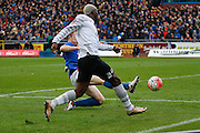 Everton forward Arouna Kone getting the cross in during the The FA Cup fourth round match between Carlisle United and Everton at Brunton Park, Carlisle, England on 31 January 2016. Photo by Craig McAllister.