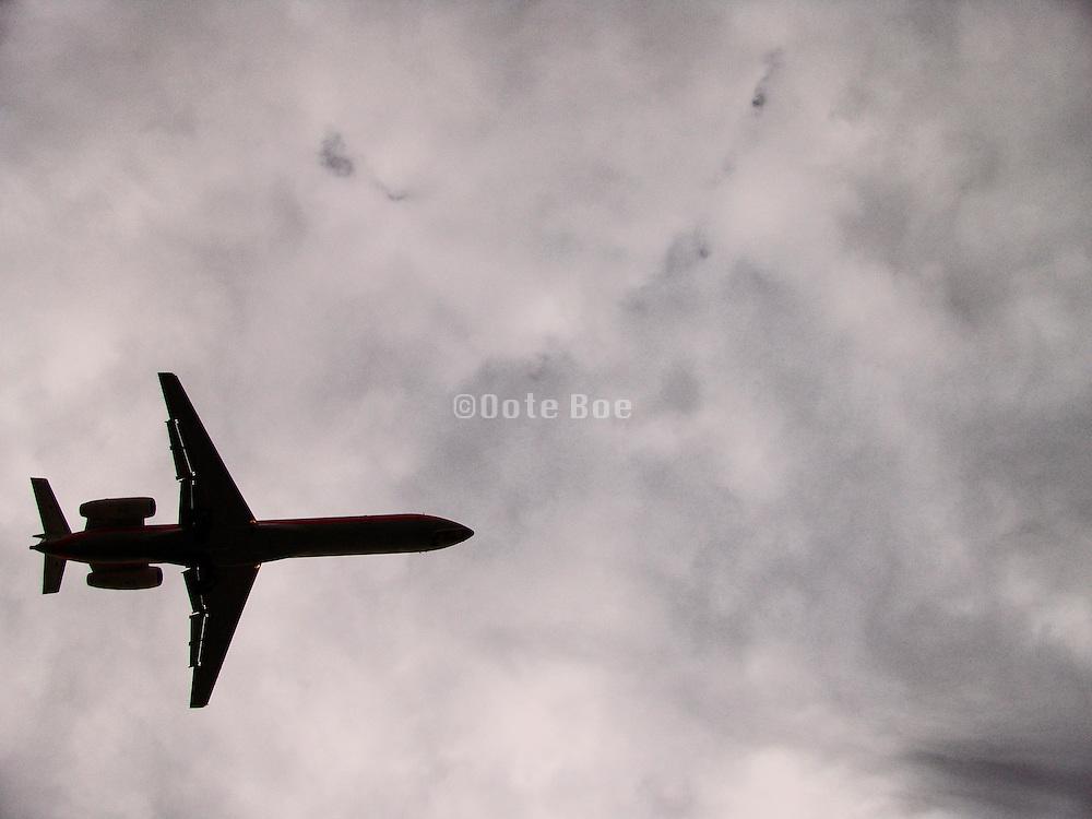 An airplane in the air.