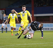 Dundee's David Clarkson takes a tumble after a challenge from St Mirren's Sean Kelly - Dundee v St Mirren, SPFL Premiership at <br /> Dens Park<br /> <br />  - &copy; David Young - www.davidyoungphoto.co.uk - email: davidyoungphoto@gmail.com