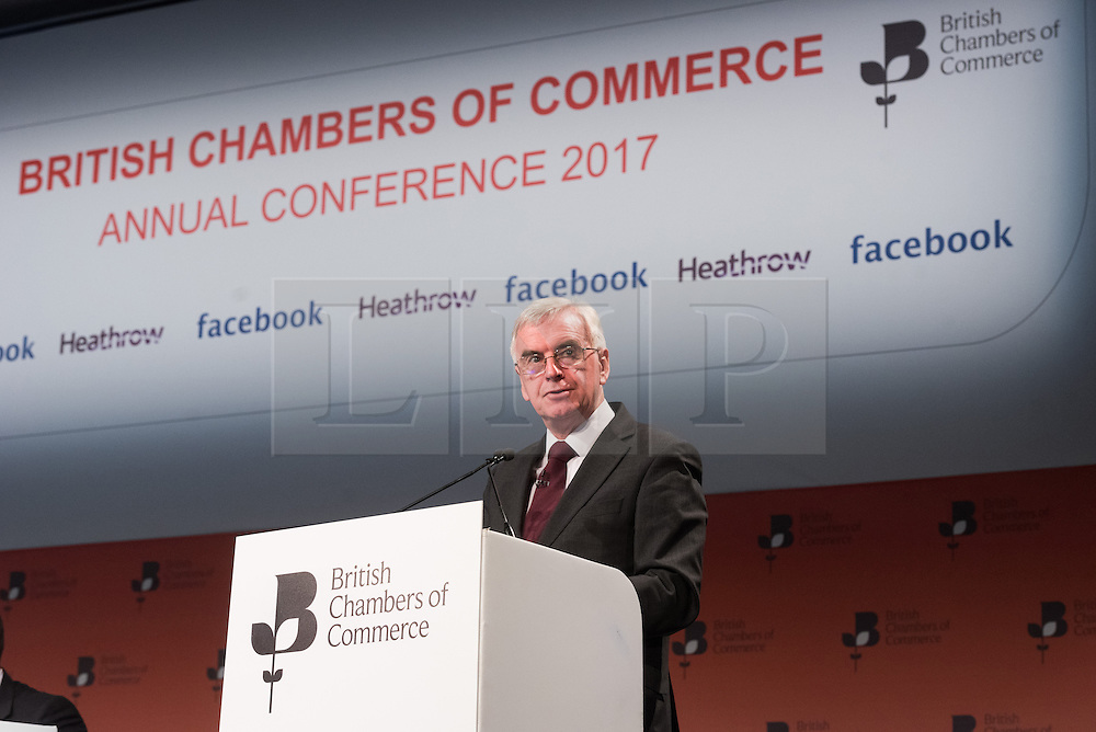 © Licensed to London News Pictures. 28/02/2017. Shadow Chancellor of the Exchequer JOHN MCDONNELL makes a keynote speech at the British Chambers of Commerce Annual Conference 2017 on growing business in the regions and nations.<br /> London, UK. Photo credit: Ray Tang/LNP