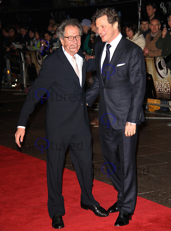 Geoffrey Rush; Colin Firth The King's Speech Premiere BFI London Film Festival, Odeon Cinema, Leicester Square, London, UK, 21 October 2010: For piQtured Sales contact: Ian@Piqtured.com +44(0)791 626 2580 (picture by Richard Goldschmidt)