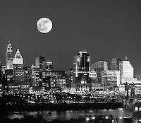 Cincinnati Skyline Moonrise