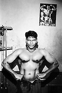 Untouchables in a colony in Mumbai has build a gym. This guy is a regular.