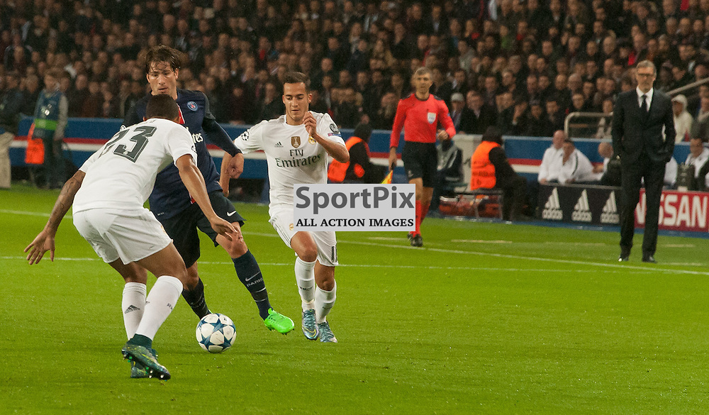 Maxwell (Paris Saint-Germain) threatens the Real Madrid defence