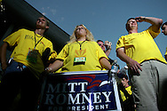 Supporters U.S. Presidential candidate Mitt Romney wait for the results of the Iowa State Straw Poll August 11, 2007 in Ames, Iowa.