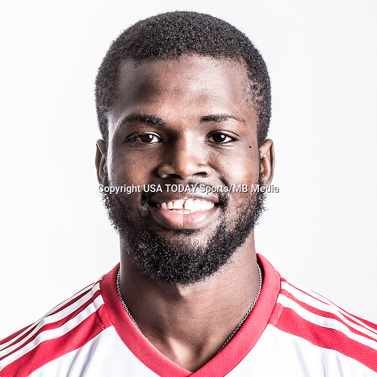 Feb 25, 2016; USA; New York Red Bulls player Kemar Lawrence poses for a photo. Mandatory Credit: USA TODAY Sports