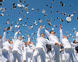May 24, 2019 - Annapolis, MD, United States of America - U.S Naval Academy graduates toss their hats into the air following the 2019 graduation and commissioning ceremony in the Navy-Marine Corps Memorial Stadium May 24, 2019 in Annapolis, Maryland. (Credit Image: © Josiah D. Pearce via ZUMA Wire)