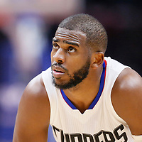 21 December 2015: Los Angeles Clippers guard Chris Paul (3) rests during the Oklahoma City Thunder 100-99 victory over the Los Angeles Clippers, at the Staples Center, Los Angeles, California, USA.