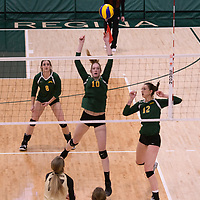 2nd year middle blocker Brooklyn Reynolds (10) of the Regina Cougars in action during Women's Volleyball home game on February 10 at Centre for Kinesiology, Health and Sport. Credit: Arthur Ward/Arthur Images