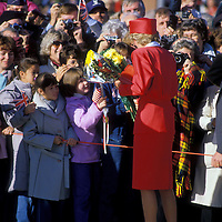 Diana Princess of Wales personally greets well-wishers upon her arrival at Andrews Air Force Base near Washington, DC in November 1985.