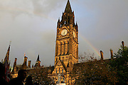 Rainbow over Manchester Town Hall parade during the Manchester Olympic Parade in Manchester, United Kingdom on 17 October 2016. Photo by Richard Holmes.