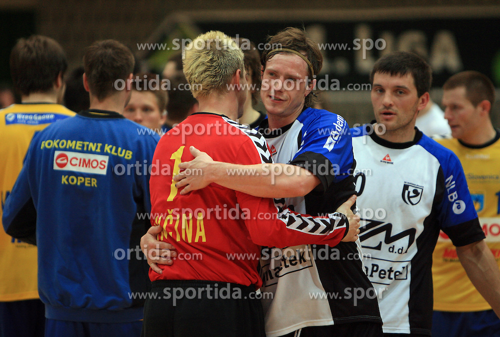 Blaz Voncina and Rok Ivancic after Men Slovenian Handball Cup, first semifinal match between RK Cimos Koper and RK Klima Petek Maribor, on April 18, 2009, in Arena Bonifika, Koper, Slovenia.  Koper won 34:30. (Photo by Vid Ponikvar / Sportida)