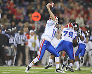 Louisiana Tech's Colby Cameron (10) passes against Ole Miss in Oxford, Miss. on Saturday, November 12, 2011.