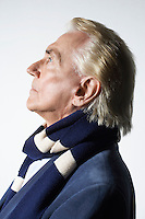 Senior Man Wearing a Scarf head and shoulders profile