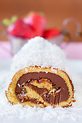 Chocolate coconut cake roll spreaded with coconut flour with strawberries in the background.