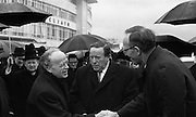 Archbishop Ryan Returns From Rome..1972..16.02.1972..02.16.1972..16th February 1972..After his official appointment as Archbishop of Dublin by Pope Paul VI, Dr Dermot Ryan returned to Dublin for his installation as Archbishop on Feb 22nd at the Pro Cathedral,Dublin..Image of An Taoiseach Mr Erskine Childers as he greets the new Archbishop of Dublin,Dr Dermot Ryan on his arrival at Dublin Airport.Dr Ryan had just arrived from Rome following his official appointment. Also pictured is Mr Paddy Burke TD.