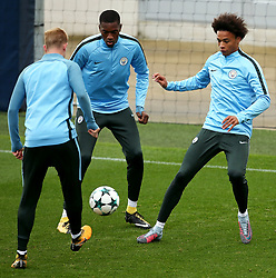 Kevin de Bruyne, Tosin Adarabioyo and Leroy Sane of Manchester City train - Mandatory by-line: Matt McNulty/JMP - 12/09/2017 - FOOTBALL - City Football Academy - Manchester, England - Feyenoord v Manchester City - Training Session - UEFA Champions League - Group F