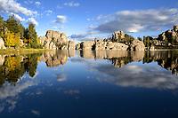 SD00073-00...SOUTH DAKOTA - Reflections on Sylvan Lake in Custer State Park.