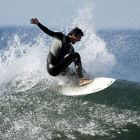 Surfer cuts back on wave near Santa Barbara, CA. Model Released