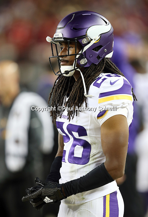 Minnesota Vikings rookie cornerback Trae Waynes (26) looks on after the 2015 NFL week 1 regular season football game against the San Francisco 49ers on Monday, Sept. 14, 2015 in Santa Clara, Calif. The 49ers won the game 20-3. (©Paul Anthony Spinelli)