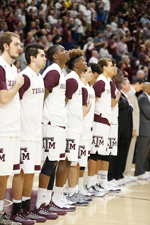 Jan 30, 2016; College Station, TX, USA;  The Texas A&M Aggies stand for the National Anthem before playing against the Iowa State Cyclones at Reed Arena. A&M won 72 to 62. Mandatory Credit: Thomas B. Shea-USA TODAY Sports