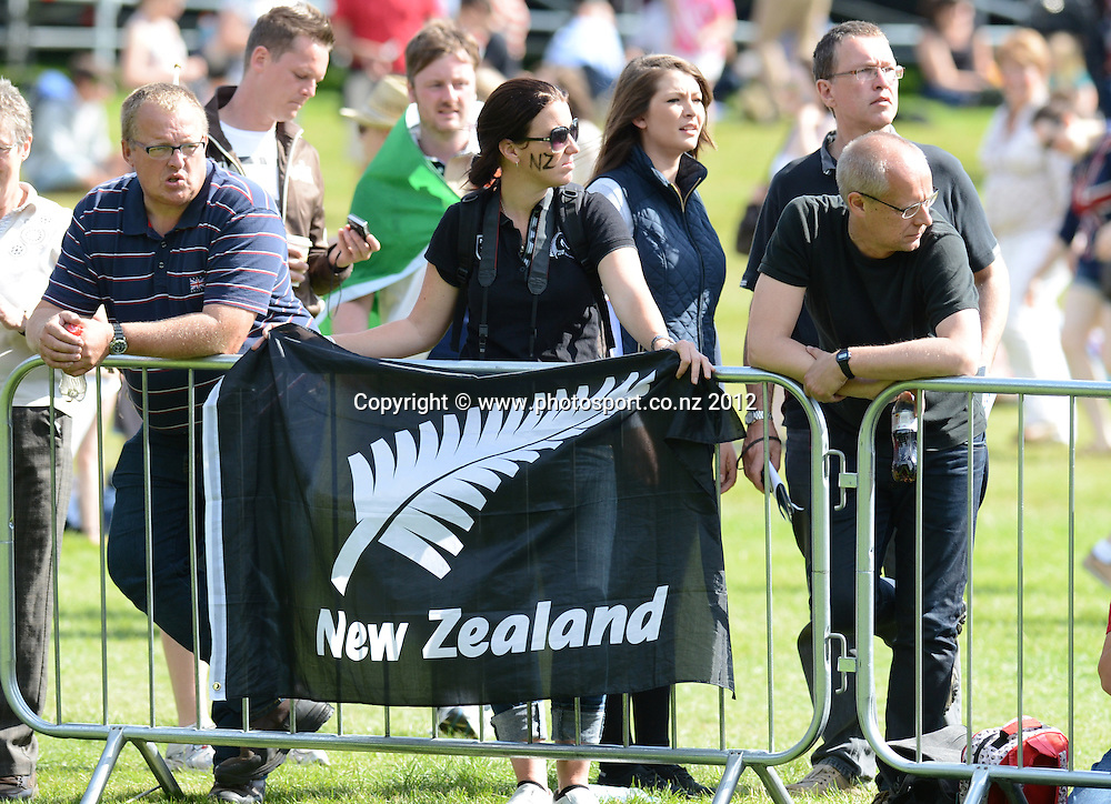 New Zealand fans during the Eventing Cross Country. Equestrian at Greenwich Park. Olympic Games, London. United Kingdom. Monday 30 July 2012. Photo: Andrew Cornaga / Photosport.co.nz