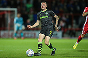 Forest Green Rovers Carl Winchester(7) passes the ball forward during the EFL Sky Bet League 2 match between Morecambe and Forest Green Rovers at the Globe Arena, Morecambe, England on 22 October 2019.