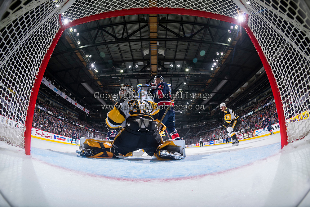 REGINA, SK - MAY 25: Cameron Hebig #41 of Regina Pats looks for the puck after a save by Kaden Fulcher #33 of Hamilton Bulldogs at the Brandt Centre on May 25, 2018 in Regina, Canada. (Photo by Marissa Baecker/CHL Images)