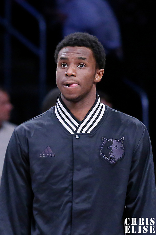 10 April 2014:  Minnesota Timberwolves forward Andrew Wiggins (22) is seen during the players introduction prior to the Los Angeles Lakers 106-98 victory over the Minnesota Timberwolves, at the Staples Center, Los Angeles, California, USA.