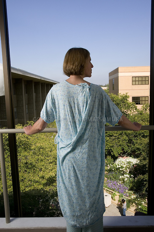 Caryn Kunkle models new Stanford Hospital gowns