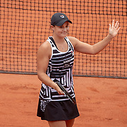 PARIS, FRANCE June 03.  Ashleigh Barty of Australia celebrates her victory against Sofia Kenin of the United States during the Women's Singles fourth round match on Court Philippe-Chatrier at the 2019 French Open Tennis Tournament at Roland Garros on June 3rd 2019 in Paris, France. (Photo by Tim Clayton/Corbis via Getty Images)