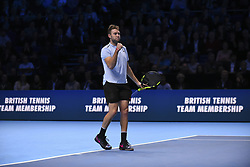November 16, 2017 - London, England, United Kingdom - US player Jack Sock reacts to Germany's Alexander Zverev during their men's singles round-robin match on day five of the ATP World Tour Finals tennis tournament at the O2 Arena in London on November 16 2017. (Credit Image: © Alberto Pezzali/NurPhoto via ZUMA Press)