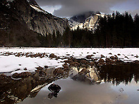 Half Dome Winter Reflection in Merced River, Yosemite National Park, California