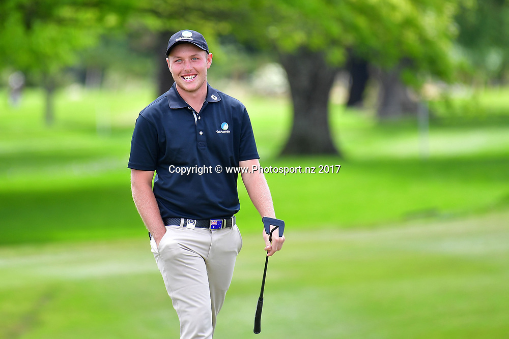 Australia's Share Wools-Cobb walks onto the  18th during the final day of the Asia-Pacific Amateur golf Championship at the Royal Wellington Golf course in Upper Hutt on Sunday the 29 October 2017. Copyright Photo by Marty Melville / www.Photosport.nz