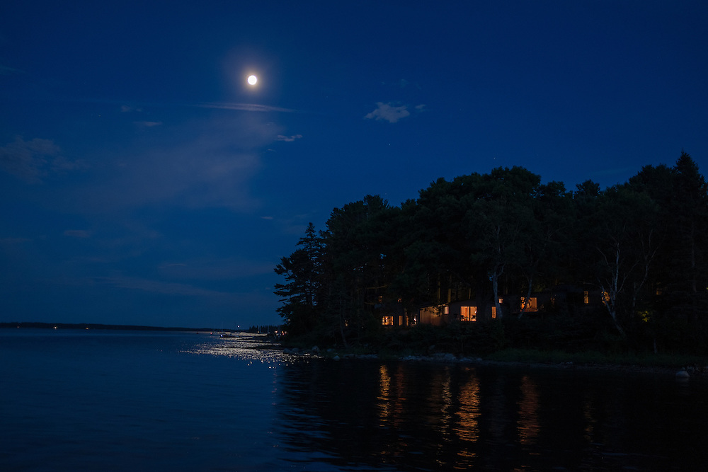 Southwest Harbor, ME - 8 August 2014. Moon over Clark Point.