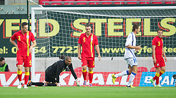 LLANELLI, WALES - Wednesday, August 15, 2012: Wales' Darcy Blake and goalkeeper Boaz Myhill look dejected as Bosnia-Herzegovina score the first goal during the international friendly match at Parc y Scarlets. (Pic by David Rawcliffe/Propaganda)