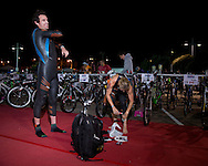 Guy Crawford (NZL) and Kate Belivaqua (AUS), March 23, 2014 - Ironman Triathlon : Athletes prepare for the race start. Ironman Melbourne Race Race, Frankston Swim Course/Transition, Melbourne, Victoria, Australia. Credit: Lucas Wroe