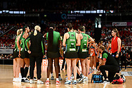 SYDNEY, AUSTRALIA - AUGUST 24: West Coast Fever at a time out during the round 14 Super Netball match between the Giants and the West Coast Fever at Qudos Bank Arena on August 24, 2019 in Sydney, Australia.(Photo by Speed Media/Icon Sportswire)