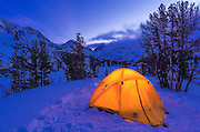 Winter camp at dusk, John Muir Wilderness, Sierra Nevada Mountains, California  USA