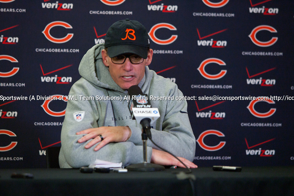 Dec 28, 2014: Chicago Bears (former) Head Coach Marc Trestman during the post game press conference versus the Minnesota Vikings. The Vikings beat the Bears 13-9 at TCF Bank Stadium in Minneapolis, MN.