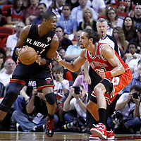 06 March 2010: Chicago Bulls center Joakim Noah (13) defends on Miami Heat power forward Chris Bosh (1) during the Chicago Bulls 87-86 victory over the Miami Heat at the AmericanAirlines Arena, Miami, Florida, USA.