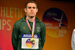 Jason Smyth, IRE receiving his Gold Medal for the T13 100m at the Berlin 2018 World Para Athletics European Championships